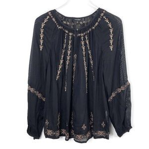 LUCKY BRAND Sheer Black Embroidered Blouse Top